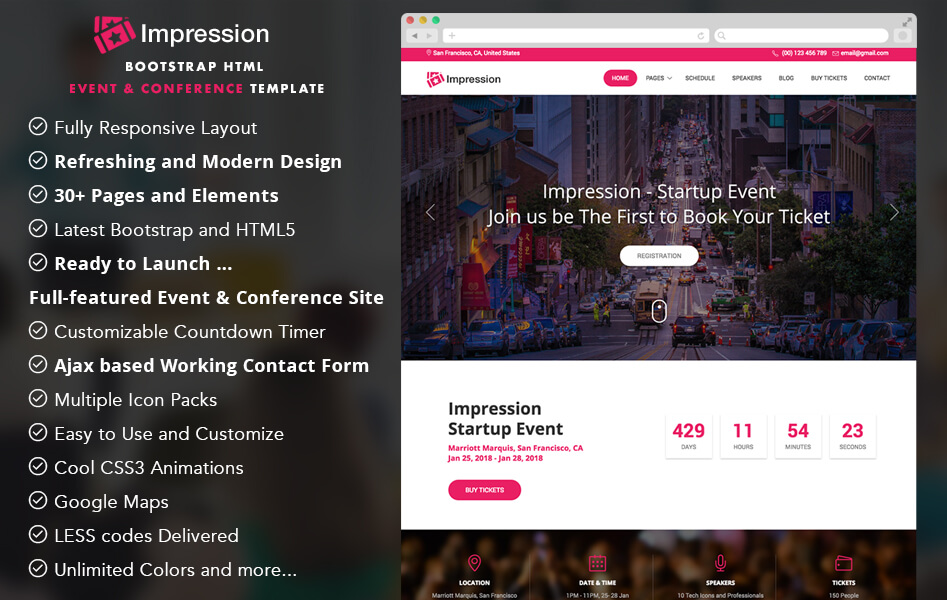 Impression Bootstrap HTML5 Event Template
